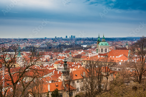 The beautiful Prague city old town seen form the Prague Castle viewpoint in an early spring day