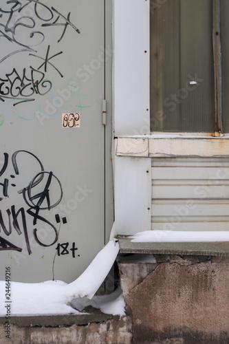 Graffiti tag on the street urban wall