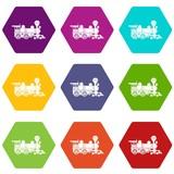Locomotive icons 9 set coloful isolated on white for web