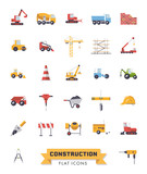 Flat Design Construction Industry isolated vector Icons Set - 244677006