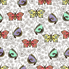 Abstract butterflies seamless pattern, hand drawing, textile print, vector illustration. Patterned colorful pastel insect with wings on white background with brown curls spiral. For fabric design