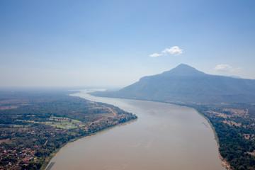 Top view of Pakse Bridge and Mekong River in Laos © Tanaban