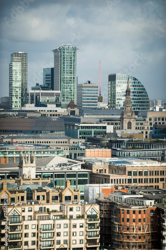 Dramatic overcast scenic view of the city skyline of Central London with a mix of traditional buildings and modern skyscrapers