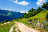 Georgian nature landscape. Summer mountain landscape in Svaneti with road to village - 244708854