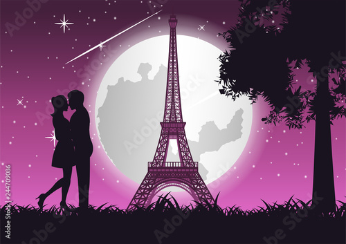 Wall mural couple hug together and kiss near Eiffel tower and tree,concept art