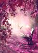 Leinwandbild Motiv Paisaje surrealista. Fantasía en parque y banco de madera.Paisaje onírico. La luz del sol a través de las ramas de los árboles y la niebla de la mañana.Concepto místico y religioso del alma