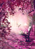 Paisaje surrealista. Fantasía en parque y banco de madera.Paisaje onírico. La luz del sol a través de las ramas de los árboles y la niebla de la mañana.Concepto místico y religioso del alma