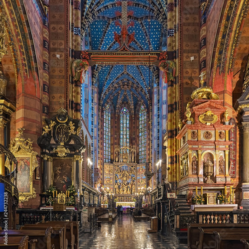 Krakow, Poland. Interior of St. Mary's Basilica (Church of Our Lady Assumed into Heaven). The church was founded in the 13th century and consecrated around 1320.