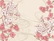 手書き風の桜の和柄の背景 - 244738875