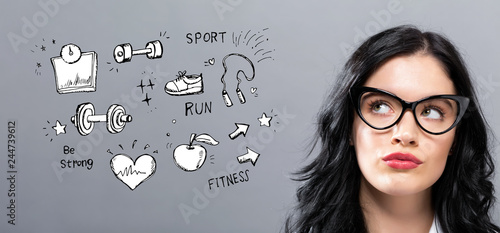 Poster Fitness and diet with young businesswoman in a thoughtful face