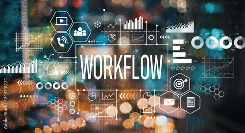 Workflow with blurred city abstract lights background - 244741274