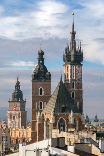 St. Mary's Basilica and Town Hall Tower in Krakow