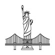 new york city statue of liberty and bridge