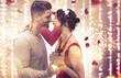 Paar Valentine Frau Mann vor Lichterhintergrund Kino Banner