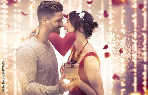 Leinwanddruck Bild Paar Valentine Frau Mann vor Lichterhintergrund Kino Banner