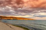 Fototapeta Zachód słońca - Sunny beach village by the Black Sea, Bulgaria © anilah