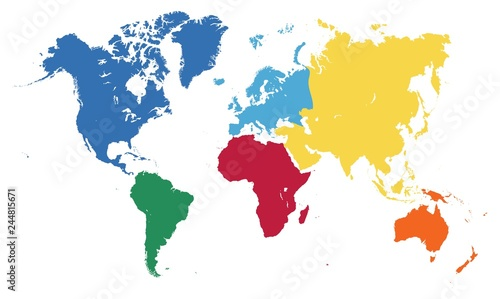 World map, seven parts of the world
