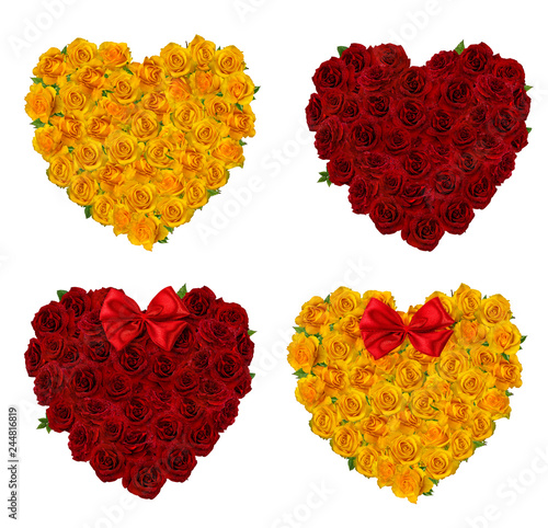 Beautiful roses heart for valentines day isolated on white background with clipping path.