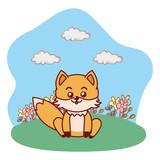 fox sitting in grassy lanscape cartoon - 244825066