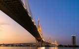 Fototapeta Fototapety pomosty - Bhumibol Bridge before sunset © jassada watt