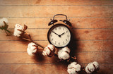 Vintage black alarm clock and branch of a cotton on wooden background