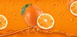 Orange Drops. Fresh fruit background. 3d realistic vector