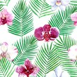 Watercolor seamless tropical pattern with orchid and palme leaves