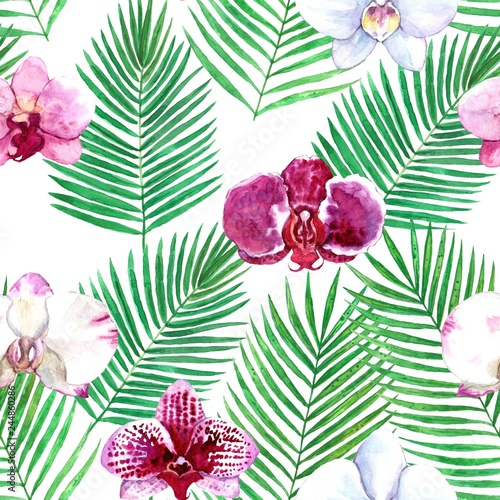 Watercolor seamless tropical pattern with orchid and palme leaves - 244860286