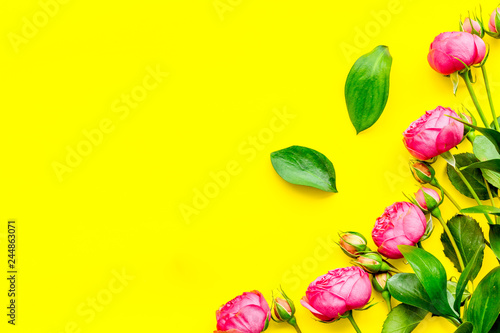 Rose flowers background. Rose roses on yellow background top view space for text border
