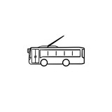 Trolleybus hand drawn outline doodle icon. City public transport and traffic, trolley coach trip concept. Vector sketch illustration for print, web, mobile and infographics on white background.