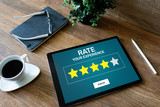 Fototapeta Panele - Rate customer experience review. Service and Customer satisfaction. Five Stars rating. Business internet and technology concept. © WrightStudio