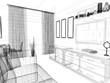 modern interior of living room, 3 d rendering - 244917850