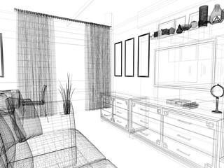 modern interior of living room, 3 d rendering © aleksey kashin
