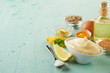 Leinwandbild Motiv Bowl of delicious homemade mayonnaise