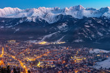 Fototapeta Natura - Zakopane by night, Mountains Tatry landscape, Poland, Europe © BajeczneObrazy.pl