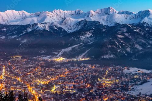 Zakopane by night, Mountains Tatry landscape, Poland, Europe - 244931266