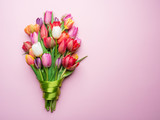 Fototapeta Tulipany - Colorful bouquet of tulips on white background. © volff