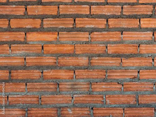 background wall made brick in  building construction site - 244947614