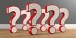 Leinwanddruck Bild - 3D Illustration viele offene Fragen Holzboden