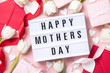 Mother's Day lightbox message with white flowers and hearts - 244949462