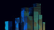 3d render abstract low poly geometric city buildings on black - 244954031