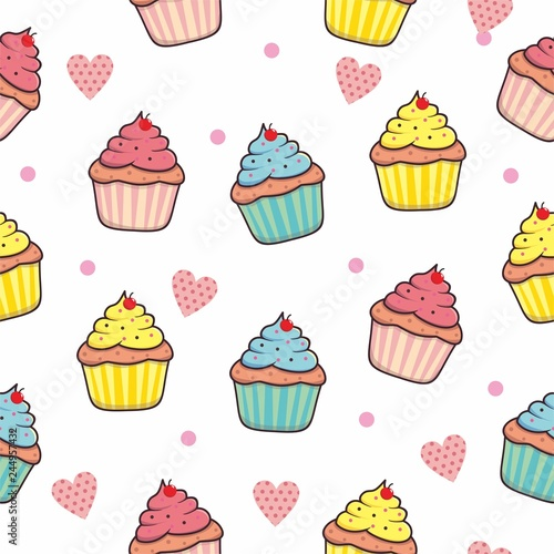 fototapeta na ścianę Cupcake seamless pattern background with pink color