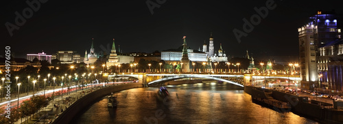 Panorama of the night Kremlin. Moscow, Russia