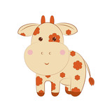 Cow on a white background.