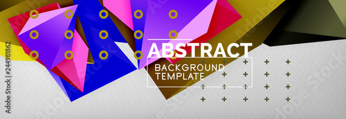 Bright colorful triangular poly 3d composition, abstract geometric background, minimal design, polygonal futuristic poster template - 244981862