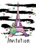 Hand drawn invitation card design with eiffel tower vector. Succulent,  cactus leaves, white background with black strokes