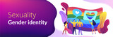 Rainbow coloured flag and LGBT community demonstration with hearts. Sexuality and gender identity, sexual orientation, LGBT movement concept. Header or footer banner template with copy space. - 244986276