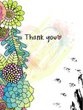 Floral Thank you card with colorful stylised flowers in a wreath, and black ink circle texture. Perfect for wedding, greeting or invitation design - 245003643