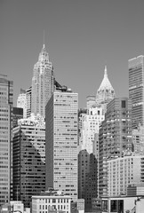 Black and white picture of New York City modern skyline, USA.