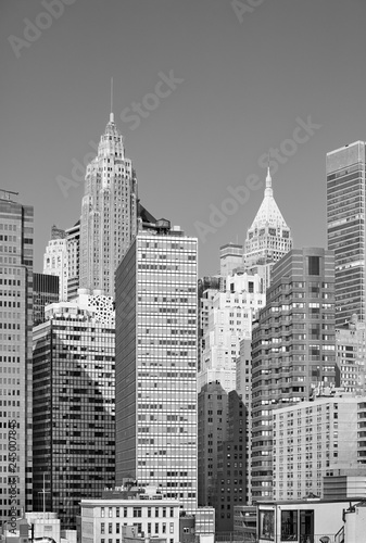 Black and white picture of New York City modern skyline, USA. © MaciejBledowski